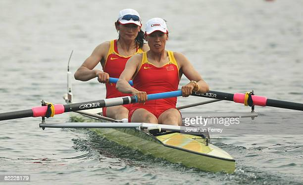 You Wu and Yulan Gao of China compete in the Women's Pair Heat 1 at Shunyi Olympic Rowing-Canoeing Park during Day 1 of the Beijing 2008 Olympic...