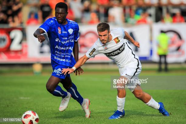 Youba Diarra of Hartberg and Daniel Toth of Admira during the tipico Bundesliga match between TSV Hartberg and FC Admira at Profertil Arena on August...