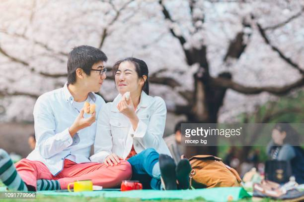 youg couple having picnic in spring - hanami stock pictures, royalty-free photos & images