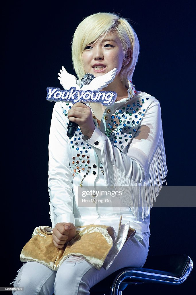 Youkyoung of South Korean girl group AOA (Ace of Angels) speaks during after the opening of his 1st single album showcase named 'Angels' Story' on July 30, 2012 in Seoul, South Korea.