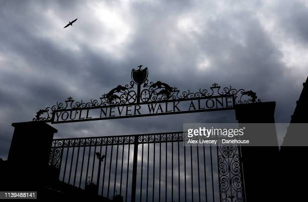 You'll Never Walk Alone is seen on the Anfield Road gates outside Anfield prior to the Premier League match between Liverpool FC and Tottenham...