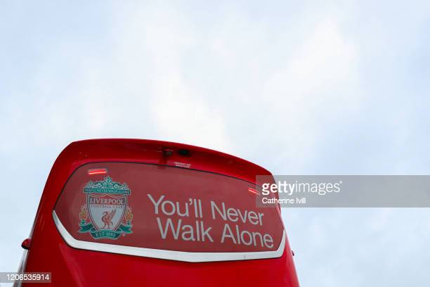 You'll never walk alone of the back of the Liverpool team bus ahead of the Premier League match between Norwich City and Liverpool FC at Carrow Road...