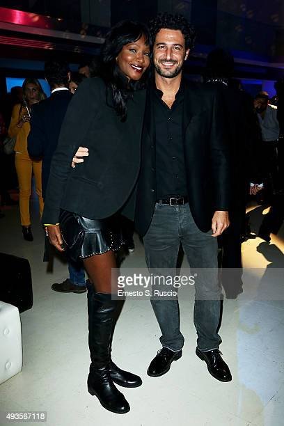 Youma Diakite and Fabrizio Ragone attend the JTI party during the 10th Rome Film Fest on October 20 2015 in Rome Italy