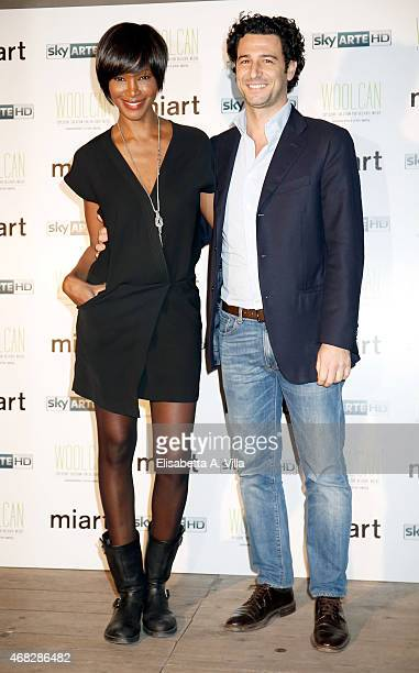 Youma Diakite and fiance Fabrizio Ragone attend 'I'm Art Party For Sky Arte' at Cohouse Pigneto on April 1 2015 in Rome Italy