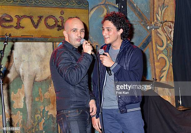 Younes and Bambi attend the 'Chinchman Comedy Show' Party at Le Reservoir on January 14, 2014 in Paris, France.