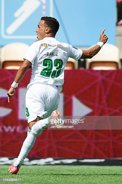 Younes Bakiz of Viborg FF celebrate after his 1-1 goal during the Danish 3F Superliga match between FC Nordsjalland and Viborg FF at Right to Dream...