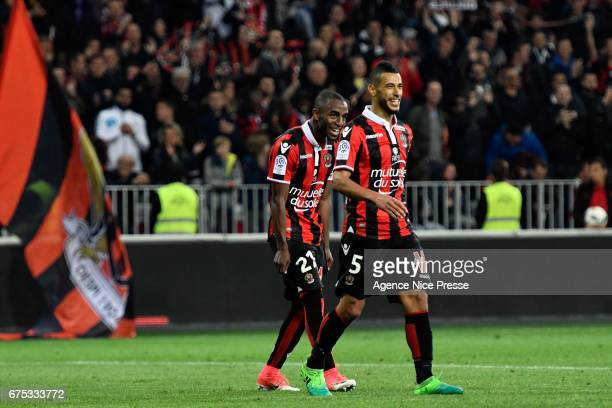 Younes Belhanda and Ricardo Pereira of Nice during the French Ligue 1 match between Nice and Paris Saint Germain at Allianz Riviera on April 30 2017...