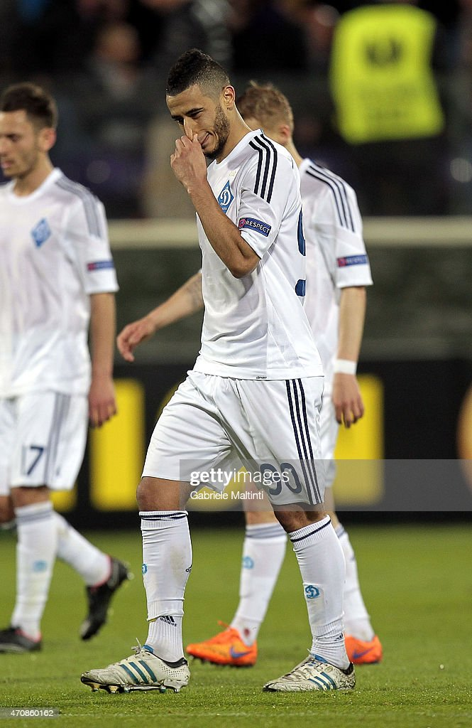 Younes Belhanda of FC Dynamo Kyiv shows his dejection during the UEFA Europa League Quarter Final match between ACF Fiorentina and FC Dynamo Kyiv on April 23, 2015 in Florence, Italy.