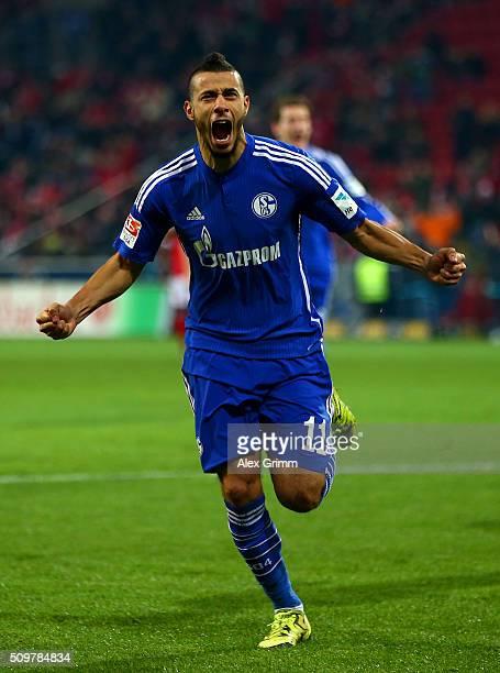 Younes Belhanda of FC Schalke 04 celebrates after scoring his team's first goal during the Bundesliga match between 1. FSV Mainz 05 and FC Schalke 04...