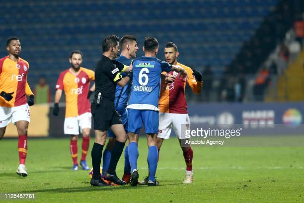 Younes Belhanda of Galatasaray argues with Loret Sadiku of Kasimpasa during the Turkish Super Lig soccer match between Kasimpasa and Galatasaray at...