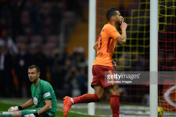 Younes Belhanda of Galatasaray celebrates 32 during the Turkish Super lig match between Galatasaray v Akhisar Belediyespor at the Turk Telecom Stadum...