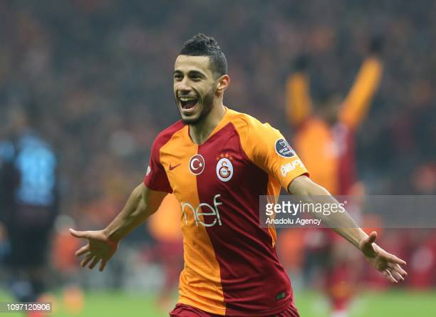 Younes Belhanda of Galatasaray celebrates after scoring a goal during Turkish Super Lig soccer match between Galatasaray and Trabzonspor at Turk...