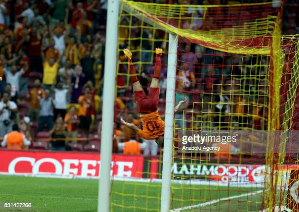 Younes Belhanda of Galatasaray celebrates after scoring a goal during a Turkish Spor Toto Super Lig soccer match between Galatasaray and Kayserispor...
