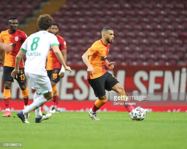 Younes Belhanda of Galatasaray controls the ball during the Turkish Cup match between Galatasaray and Alanyaspor on February 10, 2021 in Istanbul,...