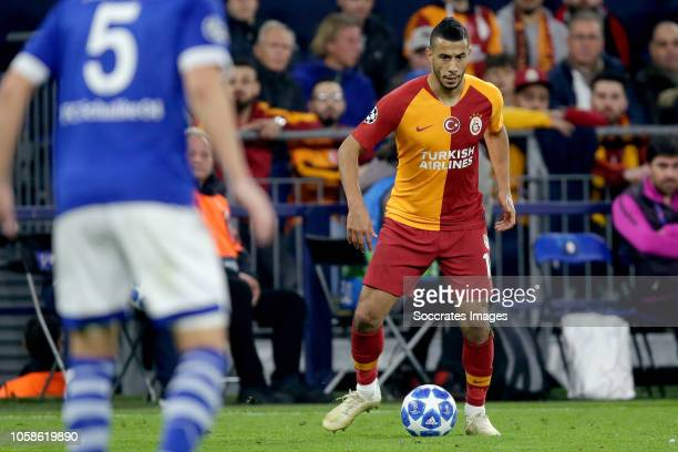 Younes Belhanda of Galatasaray during the UEFA Champions League match between Schalke 04 v Galatasaray at the Veltins Arena on November 6, 2018 in...