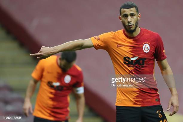 Younes Belhanda of Galatasaray gestures during the Super Lig match between Galatasaray A.S and Antalyaspor on January 2, 2021 in Istanbul, Turkey.