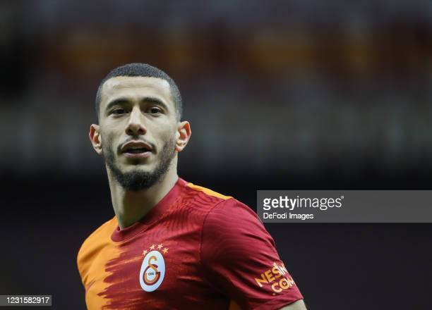 Younes Belhanda of Galatasaray looks on during the Super Lig match between Galatasaray and Sivasspor on March 7, 2021 in Istanbul, Turkey.