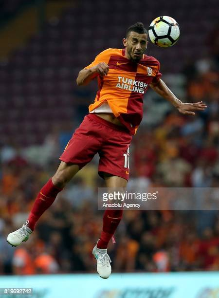 Younes Belhanda of Galatasaray rises for the ball during the UEFA Europa League second qualifying round return match between Galatasaray and...