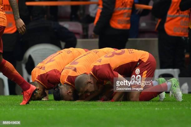 Younes Belhanda of Galatasaray Yasin Oztekin of Galatasaray Sofiane Feghouli of Galatasaray during the Turkish Super lig match between Galatasaray v...