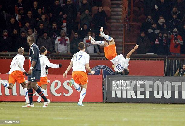 Younes Belhanda of Montpellier Herault celebrates his goal with a big jump during the French Ligue 1 between Paris Saint Germain and Montpellier...