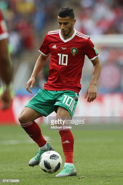 Younes Belhanda of Morocco during the 2018 FIFA World Cup Russia group B match between Portugal and Morocco at Luzhniki Stadium on June 20, 2018 in...