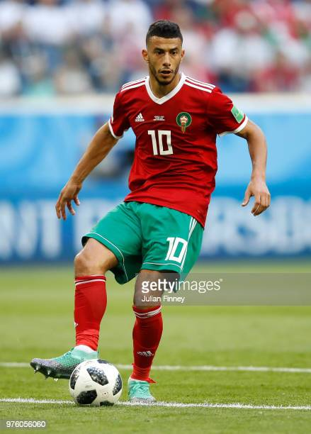 Younes Belhanda of Morocco in action during the 2018 FIFA World Cup Russia group B match between Morocco and Iran at Saint Petersburg Stadium on June...