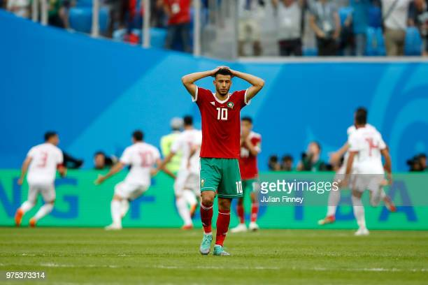 Younes Belhanda of Morocco looks dejected following his sides defeat in the 2018 FIFA World Cup Russia group B match between Morocco and Iran at...