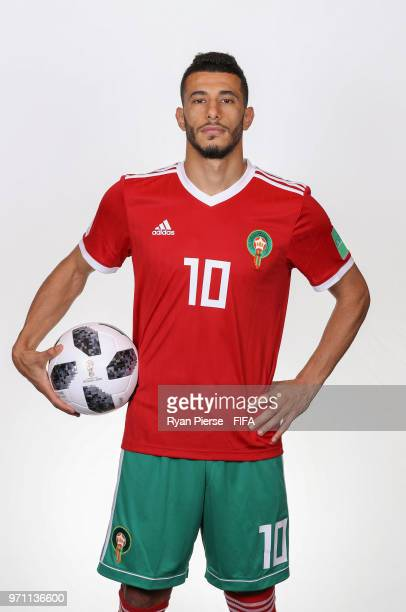 Younes Belhanda of Morocco poses during the official FIFA World Cup 2018 portrait session on June 10, 2018 in Voronezh, Russia.