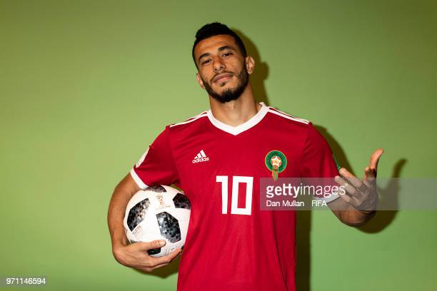 Younes Belhanda of Morocco poses for a portrait during the official FIFA World Cup 2018 portrait session at on June 10, 2018 in Voronezh, Russia.