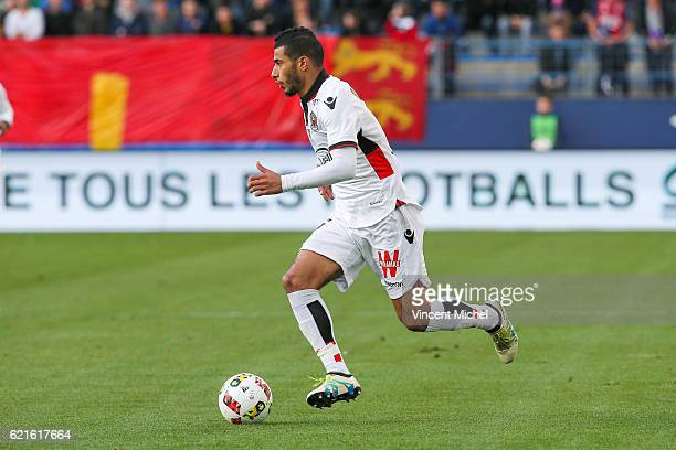 Younes Belhanda of Nice during the Ligue 1 match between SM Caen and OGC Nice at Stade Michel D'Ornano on November 6, 2016 in Caen, France.