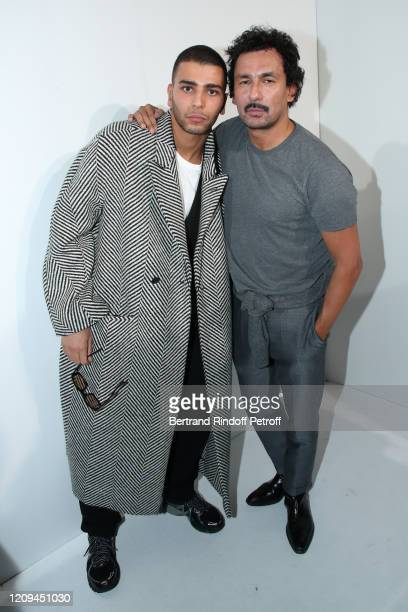 Younes Bendjima and Designer Haider Ackermann pose after the Haider Ackermann show as part of the Paris Fashion Week Womenswear Fall/Winter 2020/2021...