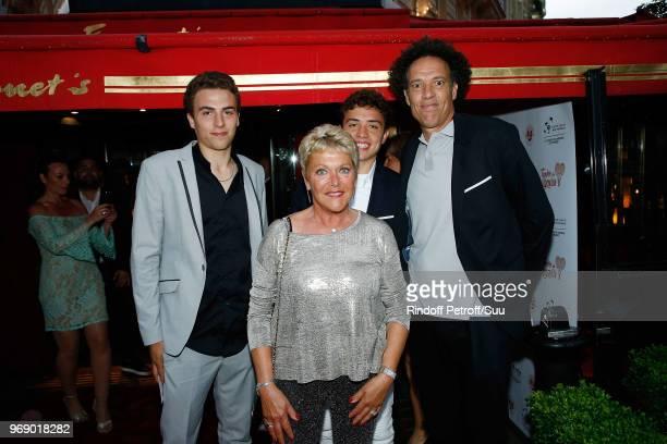 "Younes El Aynaoui and his Sons and Frederique Bahrami attend ""Diner des Legendes"" at Le Fouquet's on June 6, 2018 in Paris, France."