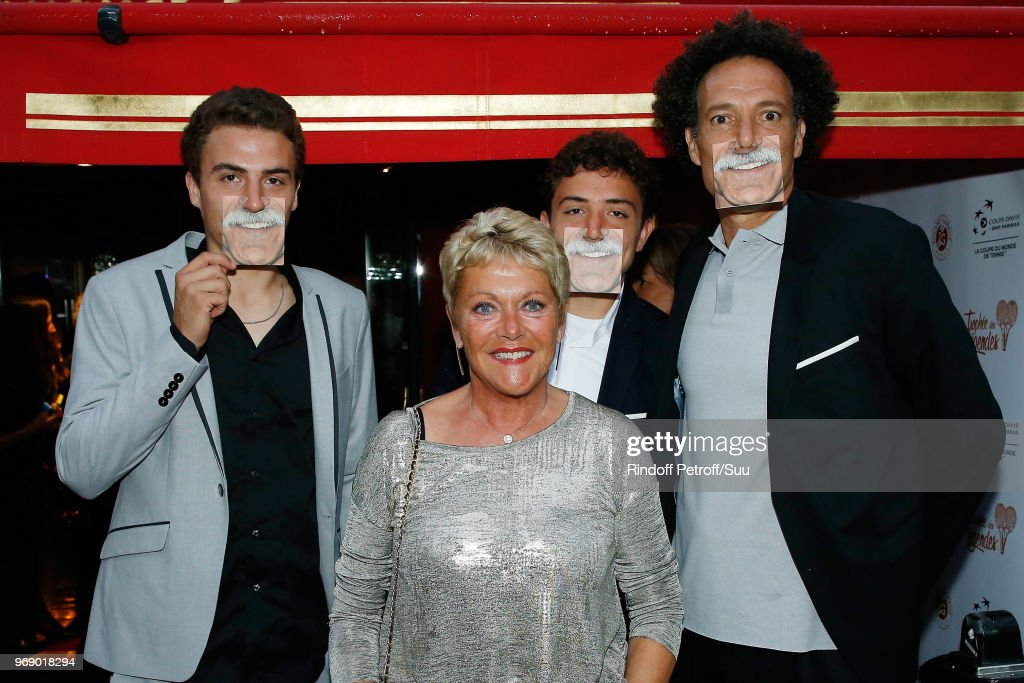 Younes El Aynaoui and his Sons and Frederique Bahrami attend 'Diner des Legendes' at Le Fouquet's on June 6, 2018 in Paris, France.