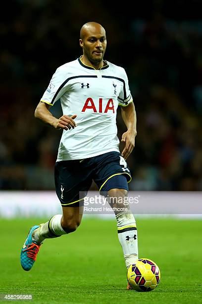 Younes Kaboul of Spurs in action during the Barclays Premier League match between Aston Villa and Tottenham Hotspur at Villa Park on November 2 2014...