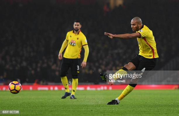 Younes Kaboul of Watford scores the opening goal during the Premier League match between Arsenal and Watford at Emirates Stadium on January 31 2017...