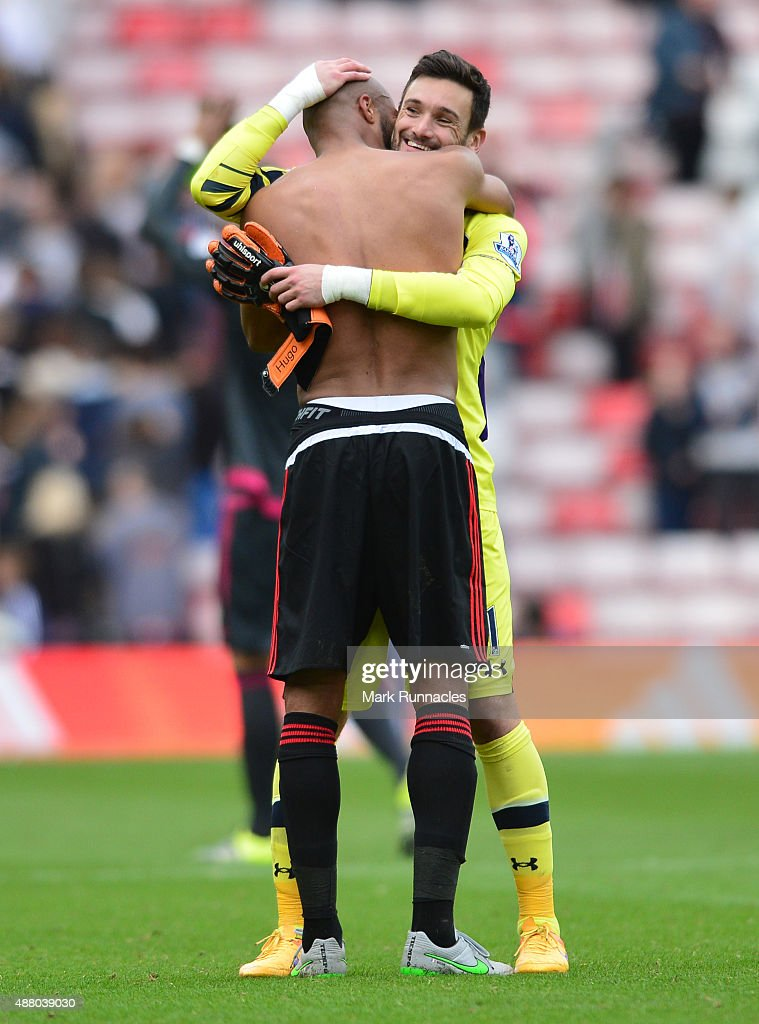 Younes Kabul of Sunderland congratulates ex team mate, Hugo Lloris of Tottenham Hotspur during the Barclays Premier League match between Sunderland AFC and Tottenham Hotspur FC at the Stadium of Light on September 13, 2015 in Sunderland, United Kingdom.