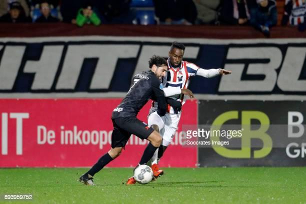 Younes Mohktar of PEC Zwolle Fernando Lewis of Willem II during the Dutch Eredivisie match between Willem II v PEC Zwolle at the Koning Willem II...