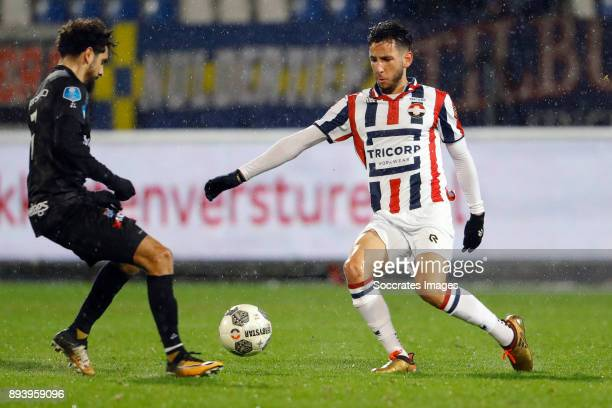 Younes Mohktar of PEC Zwolle Ismail Azzaoui of Willem II during the Dutch Eredivisie match between Willem II v PEC Zwolle at the Koning Willem II...