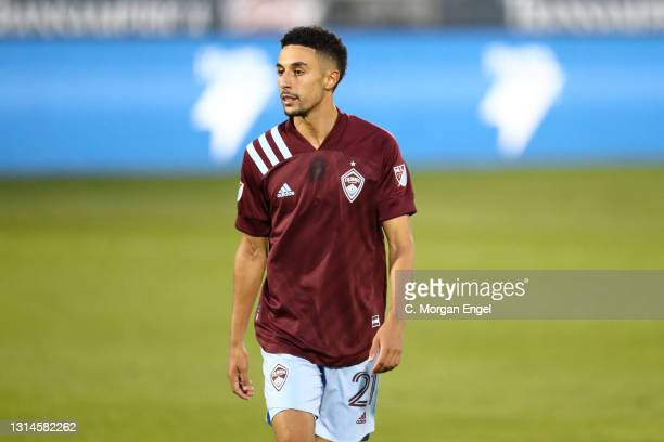 Younes Namli of Colorado Rapids looks on against the Austin FC during the first half at Dick's Sporting Goods Park on April 24, 2021 in Commerce...