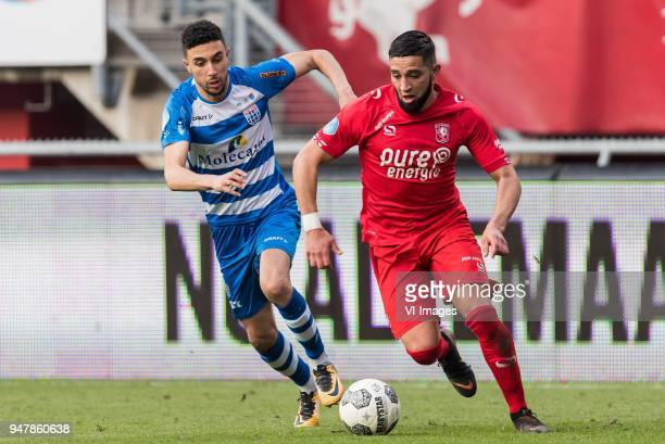 Younes Namli of PEC Zwolle Adnane Tighadouini of FC Twente during the Dutch Eredivisie match between FC Twente Enschede and PEC Zwolle at the Grolsch...