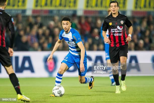 Younes Namli of PEC Zwolle Ali Messaoud of sbv Excelsior during the Dutch Eredivisie match between PEC Zwolle and sbv Excelsior Rotterdam at the...