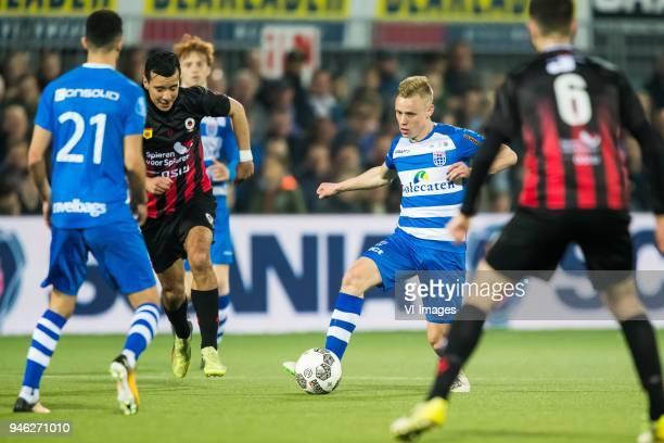 Younes Namli of PEC Zwolle Ali Messaoud of sbv Excelsior Rick Dekker of PEC Zwolle Hicham Faik of sbv Excelsior during the Dutch Eredivisie match...
