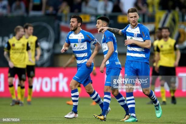 Younes Namli of PEC Zwolle celebrates 21 with Bram van Polen of PEC Zwolle Piotr Parzyszek of PEC Zwolle during the Dutch Eredivisie match between...