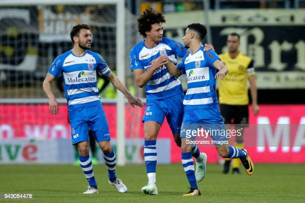 Younes Namli of PEC Zwolle celebrates 21 with Bram van Polen of PEC Zwolle Philippe Sandler of PEC Zwolle during the Dutch Eredivisie match between...