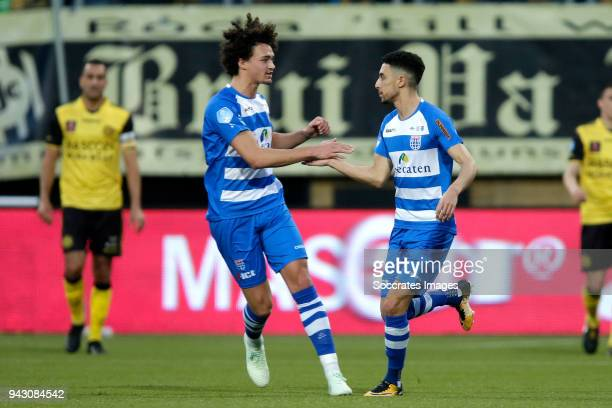 Younes Namli of PEC Zwolle celebrates 21 with Philippe Sandler of PEC Zwolle during the Dutch Eredivisie match between Roda JC v PEC Zwolle at the...