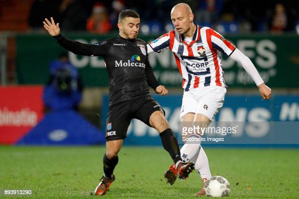 Younes Namli of PEC Zwolle Elmo Lieftink of Willem II during the Dutch Eredivisie match between Willem II v PEC Zwolle at the Koning Willem II...
