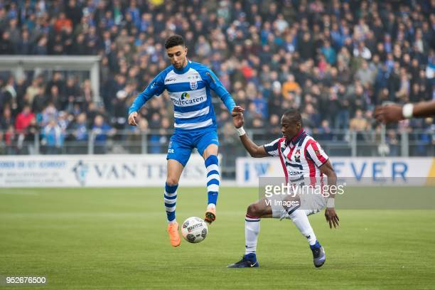 Younes Namli of PEC Zwolle Eyong Enoh of Willem II during the Dutch Eredivisie match between PEC Zwolle and Willem II Tilburg at the MAC3Park stadium...