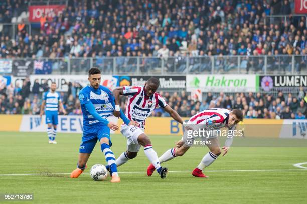 Younes Namli of PEC Zwolle Eyong Enoh of Willem II Kostas Tsimikas of Willem II during the Dutch Eredivisie match between PEC Zwolle and Willem II...