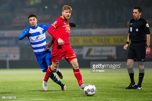 Younes Namli of PEC Zwolle Fredrik Midtsjo of AZ during the Dutch Eredivisie match between PEC Zwolle and AZ Alkmaar at the MAC3Park stadium on...