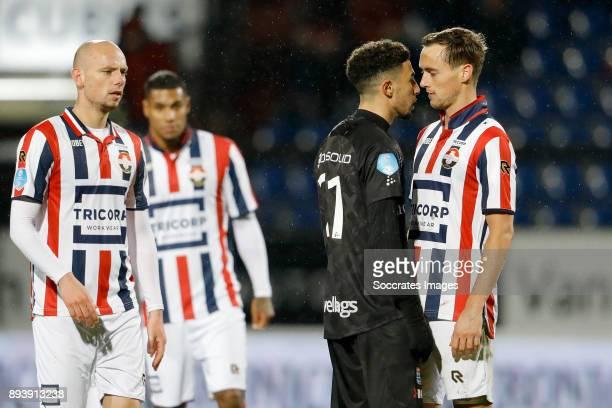 Younes Namli of PEC Zwolle Freek Heerkens of Willem II during the Dutch Eredivisie match between Willem II v PEC Zwolle at the Koning Willem II...